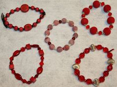 Flaming Hot Red Beaded Bracelets by SageBeauties on Etsy