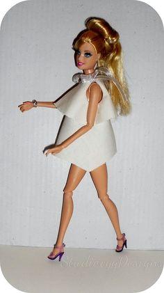 MiniatureCloting: FLARED DRESS FOR BARBIE-VESTIDO DOBLE CON VOLANTES...