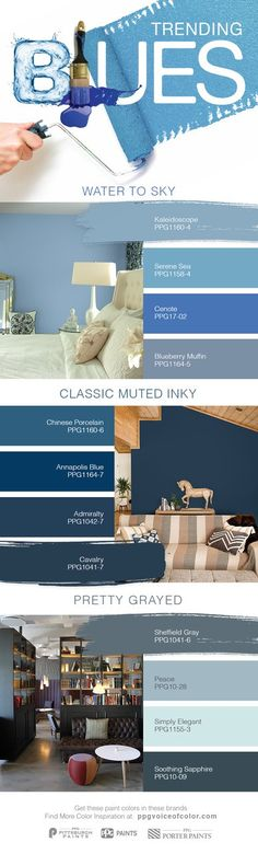 2017 Trending Blue Paint Colors | Tried and true, blues have been the most popular paint color family for a long time. The classic sky blues and inky royal blues are now trending in 2017. Both men and women love blues – from the deep patriotic navy to the familiar ocean blues. Blue is soothing and hopeful, use a blue paint color in your home to promote relaxation.