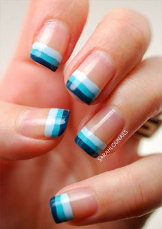 Blue Stripe French Manicure  15 Must Try Blue Manicures For Summer