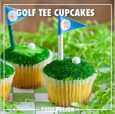 Celebrate Dad's love of golf with these adorable and tee-riffic cupcakes. Mini Desserts, Easy Desserts, Delicious Desserts, Dessert Recipes, Mini Cakes, Cupcake Cakes, Buttercream Cupcakes, Frosting, Lavender Cupcakes