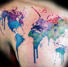 Watercolor World Map Tattoo Design For Back Shoulder