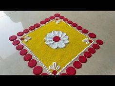 Gauri special haldi kumkum rangoli design - YouTube Rangoli Designs Simple Diwali, Simple Rangoli Border Designs, Diwali Special Rangoli Design, Indian Rangoli Designs, Rangoli Designs Flower, Free Hand Rangoli Design, Small Rangoli Design, Rangoli Patterns, Rangoli Ideas