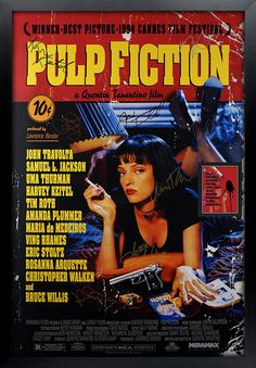 Pulp Fiction Signed   Movie PosterFramed and Ready to Hang, Collectible Memorabilia, Reprint Autographs, Signature