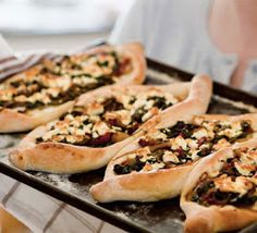 LEBANESE RECIPES: Pide with feta & spinach recipe. Like Arabic pizza.