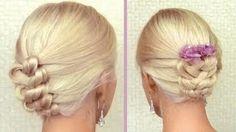 Knotted braid updo for medium long hair tutorial Elegant summer wedding hairstyle Prom hairdo.  Video tutorial.  Lilith has many wonderful hair tutorials.                                                                                                ..