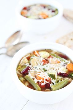 Slow Cooker Minestrone Soup Recipe on twopeasandtheirpod.com This super is super simple and loaded with vegetables! It is a favorite at our house!