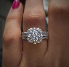 set 7mm moissanite diamond halo engagement ring in by studio1040