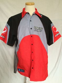 NWT Dye Paintball Pit Shirt Sz XL 2003 Casual Wear Black Gray Red Mens #DyePaintball #ButtonFront
