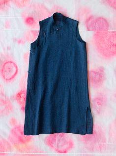 Stunning linen and cotton indigo tunic : dosa