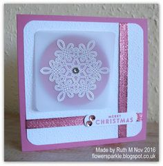 Flower Sparkle: Batch Of 10 Fancy Frost Snowflake Merry Christmas Cards