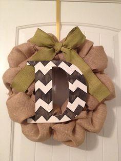 Personalized Chevron Burlap Wreath on Etsy, $50.00