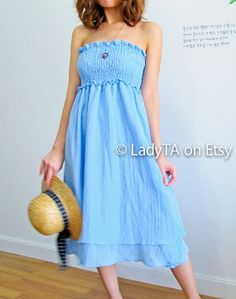 Be Tropical Girl in Lovely Pastel Blue Dress by LadyTA on Etsy, $39.00