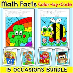 Practice number matching, addition, subtraction, multiplication or division with these 15 fun and engaging differentiated color-by-code worksheets for seasons and special occasions throughout the entire school year! There is one picture per special occasion. These activities are perfect for morning work, math centers, early finishers, substitutes, and homework.