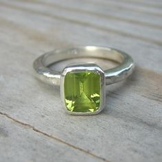 Emerald Cut Peridot Solitaire Ring #jewerly #ring #green