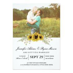 Simple Photo Wedding Sunflowers Card