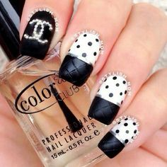 black tips with white base and black polka dots by Gillian Haberfield