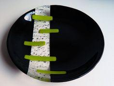 BOWL Fused Glass Bowl 12 Diameter Black by AjMcKeeFusedGlass, $135.00