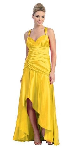 CLEARANCE - Asymmetrical Yellow Dress Formal Satin Wide Straps Criss Cross Back