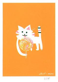 Cat & Candy - 5x7 Screen Print. $12.00, via Etsy.