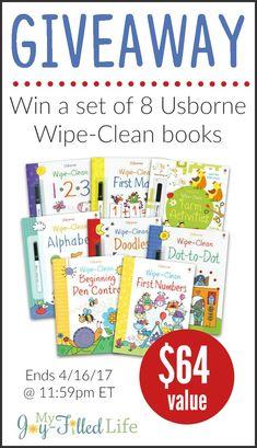 Win a Set of 8 Usborne Wipe-Clean Books - $64 value
