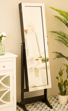 Raglan Standing Jewelry Armoire With Mirror