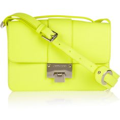 Jimmy Choo Rebel neon textured-leather shoulder bag found on Polyvore