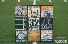 Sports Art Football Collage by Aaron Christensen- Large Canvas - Super Bowl Bound by EmbellishmentsStudio on Etsy https://www.etsy.com/listing/176541153/sports-art-football-collage-by-aaron