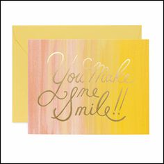 You make me smile card. Rifle Paper Co. Stationery Brands, Korean Stationery, Japanese Stationery, You Make Me, Make Me Smile, How To Make, Rifle Paper Company, Greeting Card Shops, Valentines Day Holiday