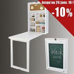 Wandschrank, Memoboard und einer Tafel auf der Rückwand, Wandklapptisch mit integriertem Regal, Küchentisch FWT08 (weiß) SoBuy-Tisch http://www.amazon.de/dp/B00GIDDMW6/ref=cm_sw_r_pi_dp_4gwMwb1PJJGX8