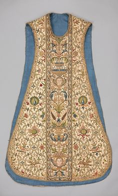 Chasuble Date: 16th century Culture: French Medium: Canvas, silk and metal thread Dimensions: L. 49 1/2 in. (125.7 cm) Classification: Textiles-Embroidered