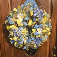 Deco Mesh Floral Wreath  Burlap Summer Wreath  by FollowYourWreath