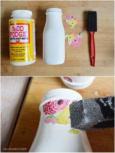 eighteen25: Decoupage Milk Bottles