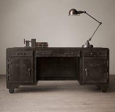 20th C. Iron Vault Desk