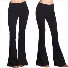 """Black Elastic Waist Bell Bottom Pants NWOT and direct from the distributor these pants are made in the USA. They feature a thick viscose fabrication. I have these in small (size 2-4, 24"""" waist, 34"""" inseam, 9"""" rise), medium (size 6-8, 26"""" waist, 34"""" inseam, 9.5"""" rise), large (size 10-12, 28"""" waist, 36"""" inseam, 10"""" rise) 67% viscose, 28% nylon, 5% spandex. These are very stretchy so the above measurements should be used as a guide. Smoke free home. ONLY SIZE SMALL IS LEFT, BUT MORE SIZES ARE…"""