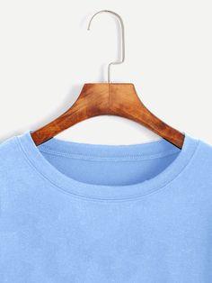 Blue Cut Out Sleeve Crop Sweatshirt