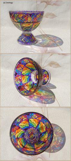 FLORERO de postre de cristal tazón de fuente de pedestal