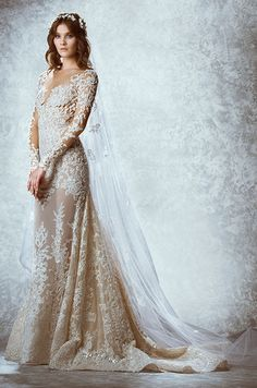 Lace illusion wedding dress with long sleeves. Zuhair Murad, Fall 2015