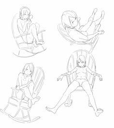 drawing sketching reference poses sitting on a rocking chair Body Drawing, Drawing Base, Manga Drawing, Figure Drawing, Drawing Techniques, Drawing Tips, Drawing Sketches, Drawings, Manga Poses