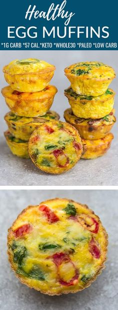 An easy recipe for Healthy Egg Muffins that you can make ahead for busy mornings and holiday brunches. These baked egg cups are packed with protein and tons of nutritious vegetables like tomato and spinach. They're so simple to customize and the perfect healthy breakfast and snack for on the go. Gluten free, paleo, low carb, keto and Whole30 compliant. Freezer-friendly and works great for Sunday meal prep for work or school lunchboxes. #whole30 #eggmuffins