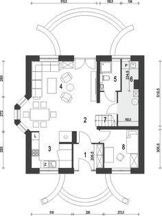 Projekt Dom Dla Ciebie 5 bez garażu [B] 113,9 m2 - koszt budowy 196 tys. zł - EXTRADOM 20 M2, Tiny Spaces, Tiny House, House Plans, Floor Plans, Cabin, Flooring, How To Plan, House Styles