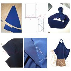 Sewing tutorial and pattern for the very long khimar. KHIMAR-PONCHO. The pattern is the base for the many other khimar and French Jilbab models. Sew with HelikaStyle