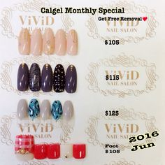 June2016  $105 natural, yet elegant and sparkly nails $115 black and charcoal grey with studs, tacky nails  $125 hand painted delicate paisley nails Foot$105 girly and cute plaid nails (With mini pedicure ex$15,With full pedicure ex$35) Calgel monthly special*Free Removal of Calgel By choosing one of the design below and get free removal($30) The colour could be changed with your preference!  $105 ナチュラルかつ上品に輝く愛されネイル $115 黒とチャコールグレーにスタッズを合わせたROCKネイル $125  ハンドペイントの繊細なアートが際立つペイズリーネイル Foot$105…