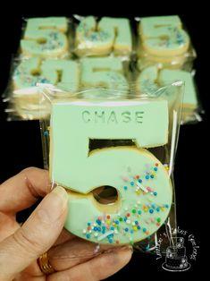 Green Sprinkles number five cookie. www.facebook.com/cakesbyleannerhodes