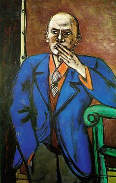 Self-Portrait in Blue Jacket by Max Beckmann (St Louis Art Museum, St Louis, MO) - German Expressionism Expressionist Artists, Artist Inspiration, Self Portrait, German Expressionism, Degenerate Art, Metropolitan Museum Of Art, Art, St Louis Art Museum, Max Beckmann