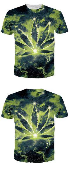 8b269f6e45 Newest Men Women Galaxy Space T-Shirt Summer Green Leaf Constellation 3D T Shirt  Casual