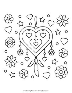 Free printable Valentine's Day Coloring Pages eBook for use in your classroom or home from PrimaryGames. Print and color this Heart Shaped Dream Catcher coloring page. Dream Catcher Coloring Pages, Heart Coloring Pages, Free Coloring Pages, Printable Coloring Pages, Coloring Books, Coloring Sheets, Wacom Bamboo, Valentines Day Coloring Page, Kids Valentines