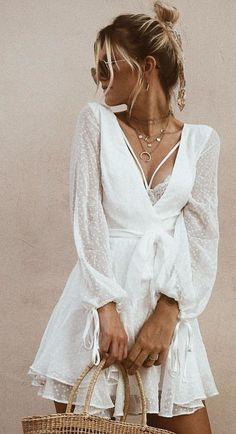 white lace deep V-neck mini dress., Summer Outfits, white lace deep V-neck mini dress. Casual Summer Outfits, Spring Outfits, White Summer Dresses, White Mini Dress, White Lace Dresses, White Dress Outfit, Cream Dresses, Pretty White Dresses, Boho Mini Dress