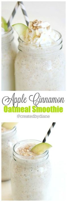 apple cinnamon oatmeal smoothie from www.createdby-dia… createdbydiane apple cinnamon oatmeal smoothie from www. Oatmeal Smoothies, Yummy Smoothies, Breakfast Smoothies, Smoothie Drinks, Yummy Drinks, Healthy Drinks, Oat Smoothie, Smoothie King, Green Smoothies