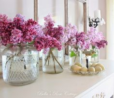 Vintage Jars like the ones I use for herbs. ~ Bella's Rose Cottage: Lilacs on the Mantel...